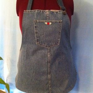 BBQ and cooking Apron, blue jean denim